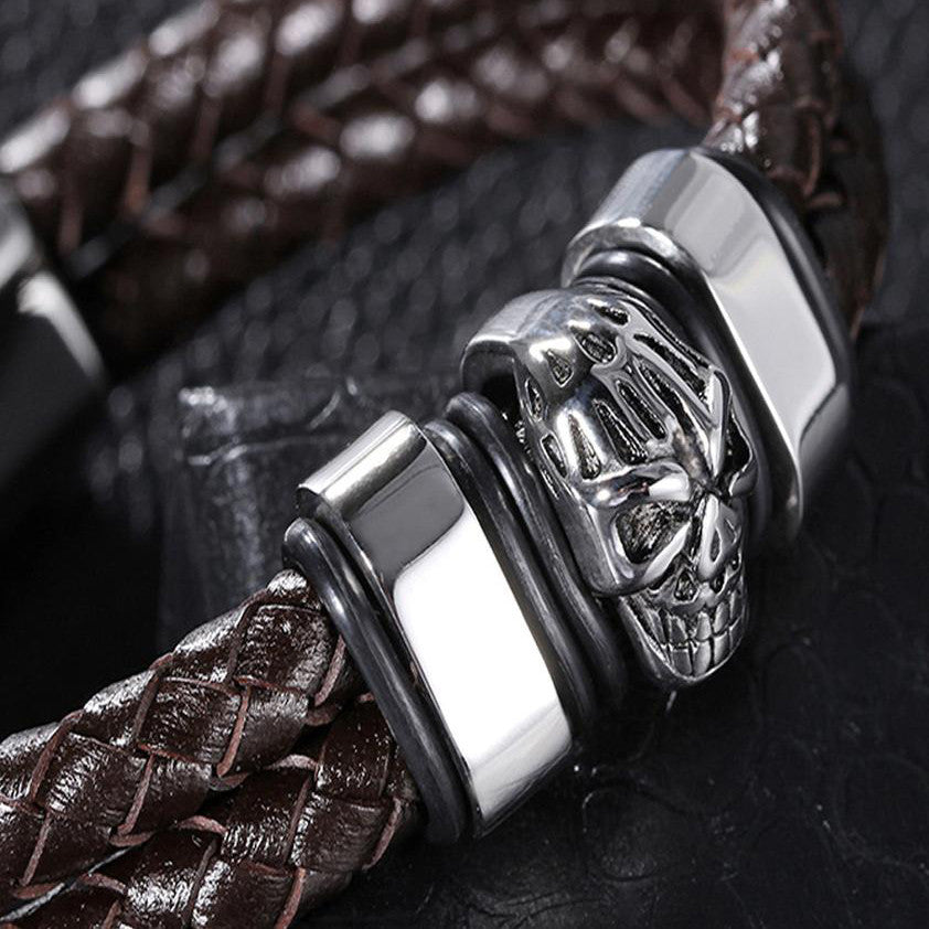 Brown Woven Leather Silver Skull Men's Bracelet - Forziani - 2