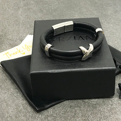 Smooth Black Nappa Leather and Silver Cross Bracelet for Men