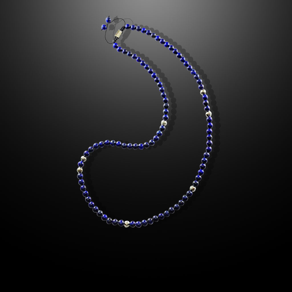 Mens Beaded Necklace with Navy Blue Lapis and Silver - Summit Series