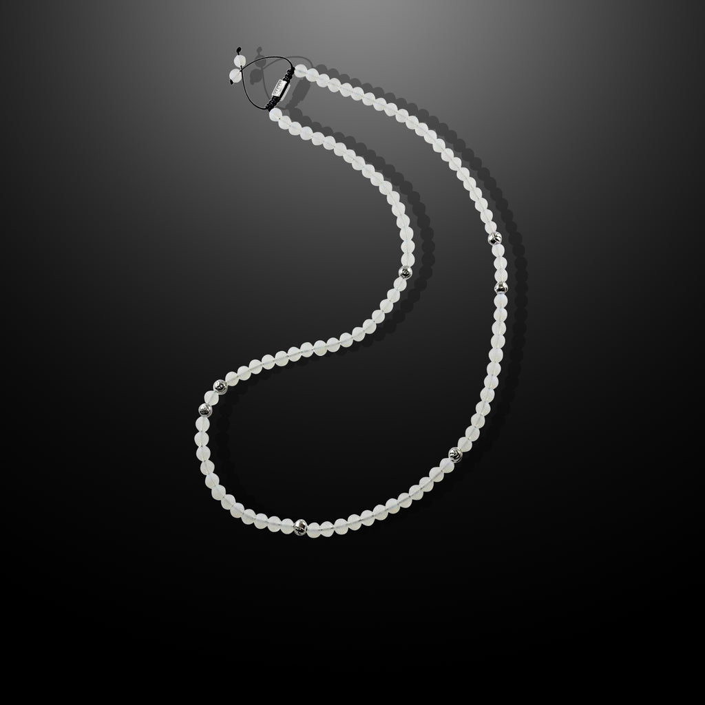 Mens Beaded Necklace with White Moonstone and Silver - Summit Series