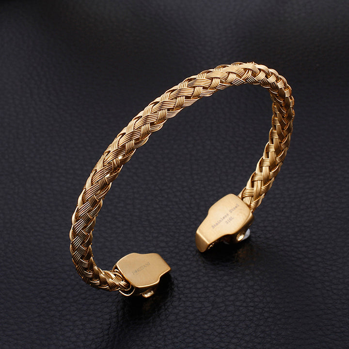 Tenacity Twin Skull Cuff Bangle Bracelet in Textured Gold