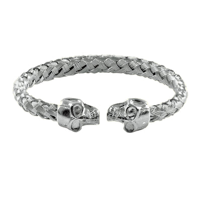 Tenacity Twin Skull Cuff Bangle Bracelet in Textured Silver
