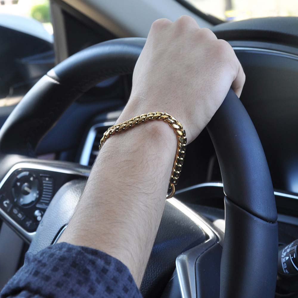 Terra 8mm Miami Link Steel Gold Bracelet
