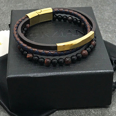 Terra Layered Leather and Stone Bracelet