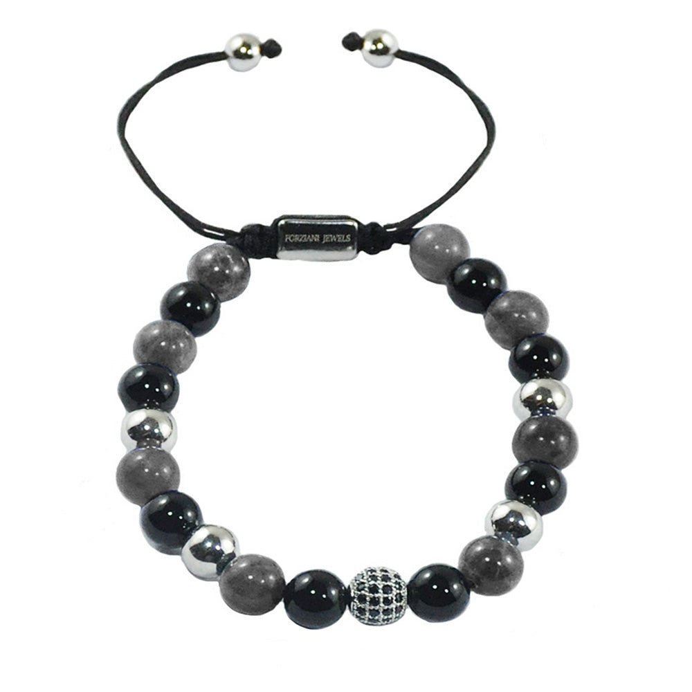 Toronto Beaded Bracelet with Black & Grey Agate and CZ Diamonds Pave Beads