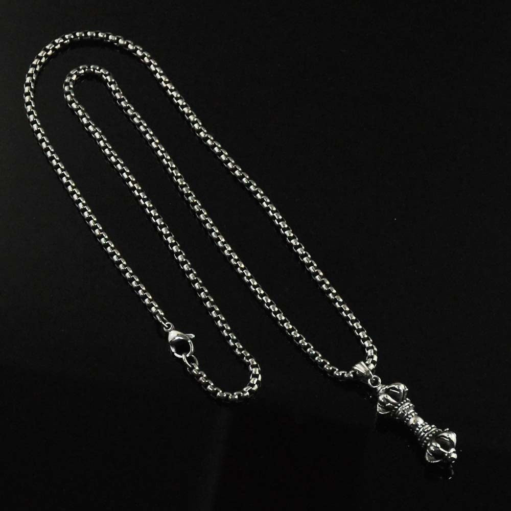 Vajra Mens Pendant Necklace in Stainless Steel