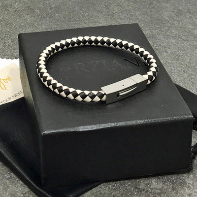 Vector Black and White Braided Leather Bracelet for Men