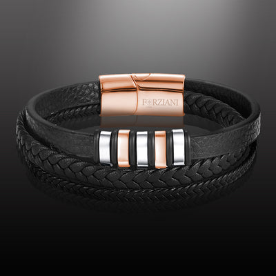 Voyager Multi Layered Premium Nappa Leather Bracelet - Rose Gold