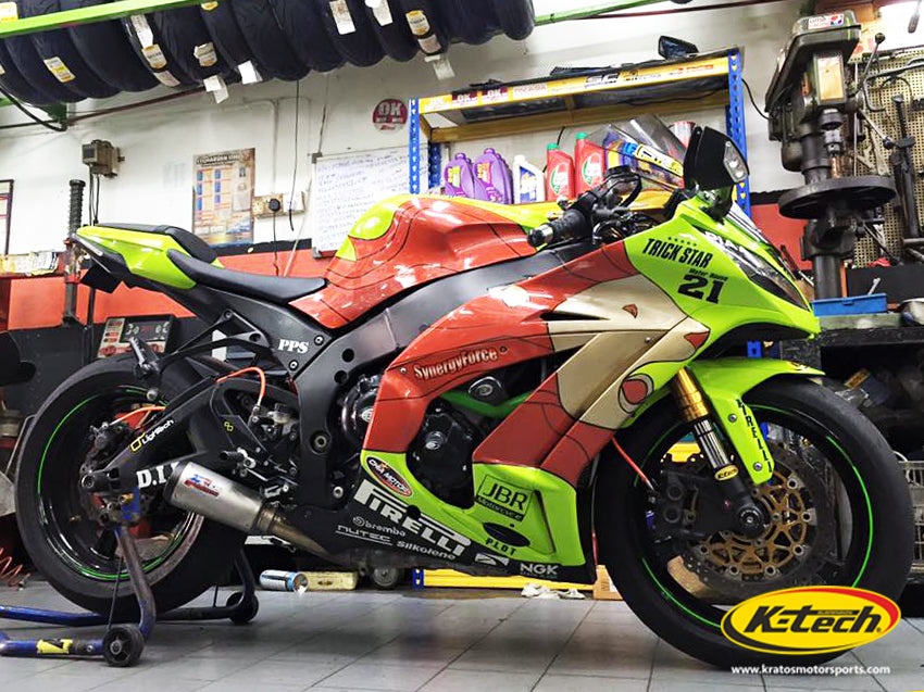 The Kawasaki ZX10R with Ktech Suspension RDS front cartridges and DDS lite rear shock absorbers