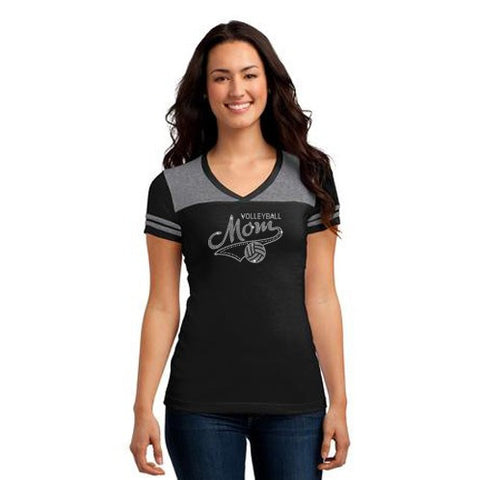 "DT264 - District® Juniors Varsity V-Neck Tee 2-Tone -  ""Volleyball Mom"""