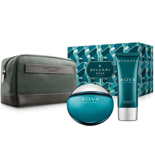 Bvlgari Aqva Pour Homme Marine Gift Set 100ml EDT + Aftershave Balm 100ml + Bag