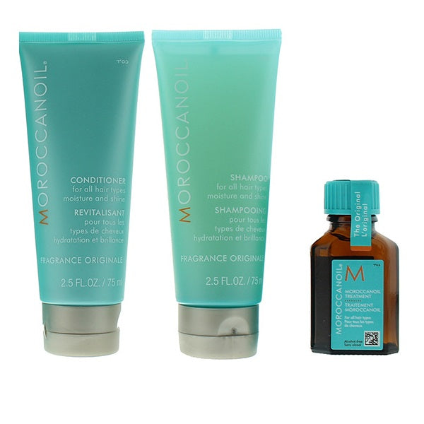 Moroccanoil Gift Set 75ml Shampoo + 75ml Conditioner + 15ml Moroccan Oil