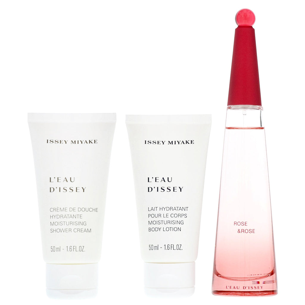 Issey Miyake L'eau D'issey Rose & Rose Gift Set 50ml EDP + 50ml Shower Cream + 50ml Body Lotion