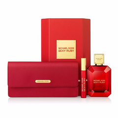 Michael Kors Sexy Ruby Gift Set 100ml EDP + 10ml Rollerball + Clutch Bag