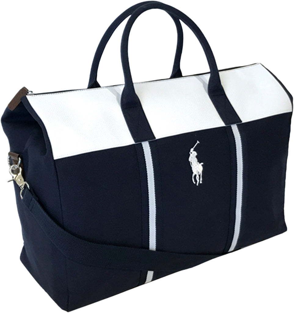 Ralph Lauren Polo Blue & White Duffle Weekender Bag