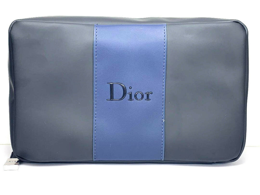 Dior Black & Blue Mens Toiletry Travel Overnight Wash Shaving Bag