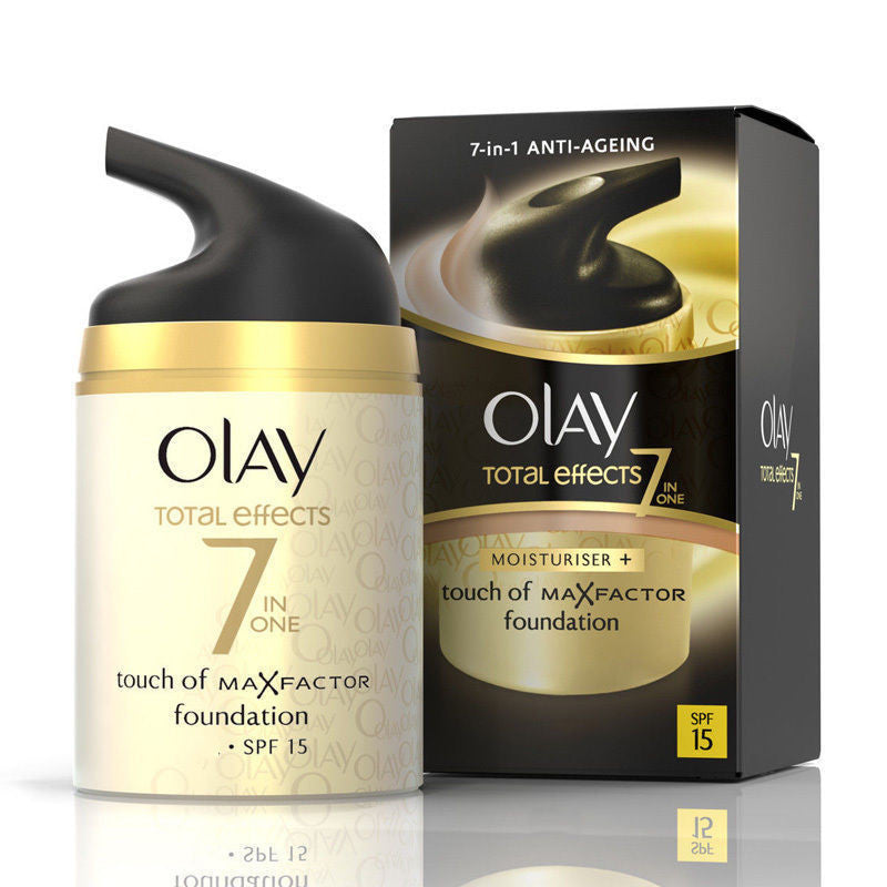 Olay SPF15 Total Effects Touch of Maxfactor Moisturiser Foundation - Medium - 50 ml - Look Incredible