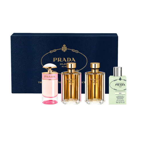 Prada Milano The Prada Miniatures Collection Gift Set 7ml Prada Candy Florale EDT + 9ml La Femme Prada EDP + 9ml La Femme Prada EDT + 8ml Les Infusions De Prada Iris EDP