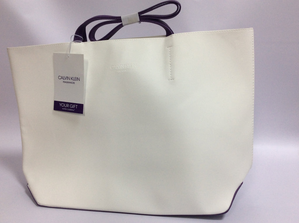 Calvin Klein White Purple Faux Leather Tote Shopper Bag