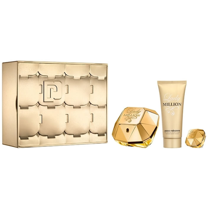 Paco Rabanne Lady Million Eau De Parfum Spray 80ml + Body Lotion 100ml + Eau De Parfum Travel Spray 5ml