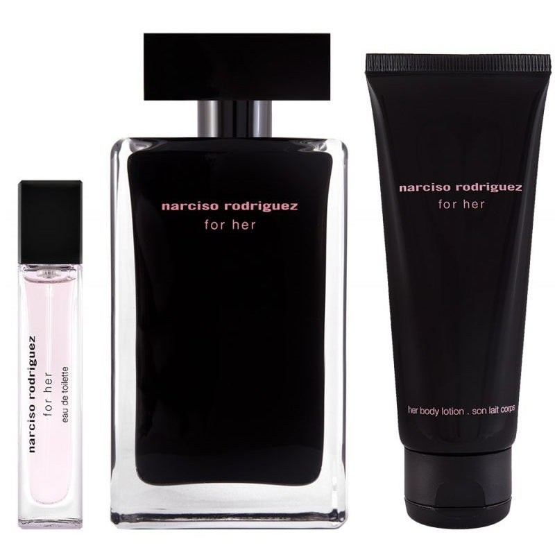 Narciso Rodriguez For Her Gift Set 100ml EDT + 10ml EDT + 50ml Body Lotion