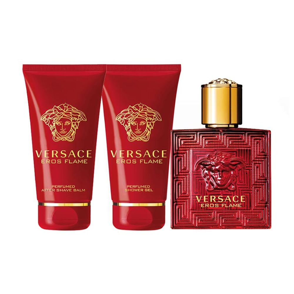 Versace Eros Flame Gift Set 50ml EDP + Shower Gel 50ml + Aftershave Balm 50ml