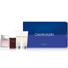 Calvin Klein Euphoria Men Gift Set 100ml EDT + 20ml EDT + Aftershave Balm 100ml + Body Wash 100ml