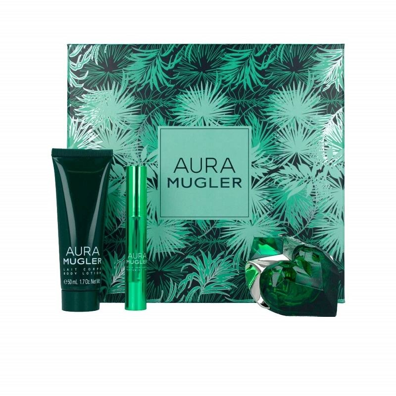 Thierry Mugler Aura Gift Set 30ml EDP Refillable + 50ml Body Lotion + Perfume Pen