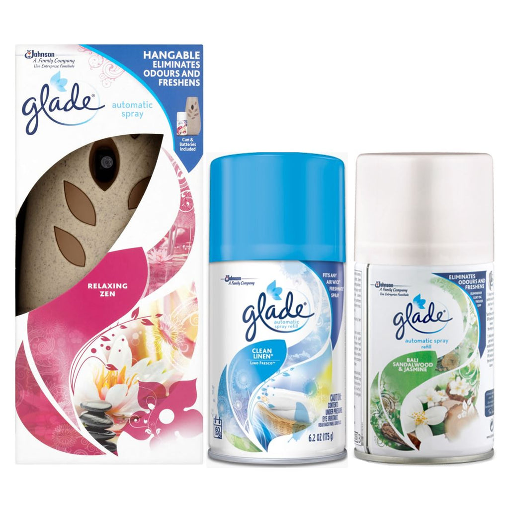 Glade Automatic Spray Holder Air Freshener Relaxing Zen 269ml + Bali Sandalwood & Jasmine Refill + Clean Linen Refill