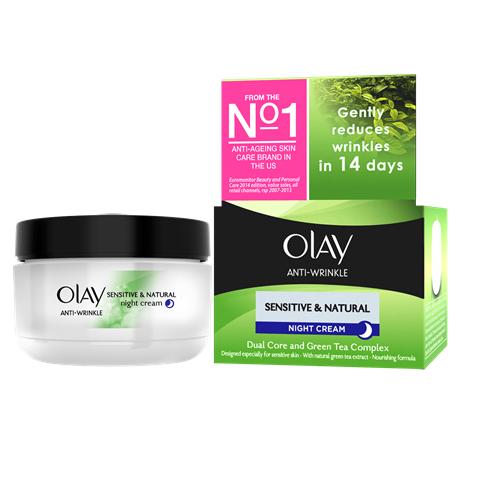 Olay Anti-Wrinkle Sensitive And Natural Gentle Night Moisturiser 50 ml