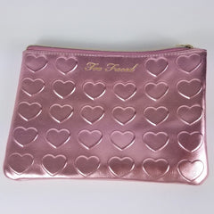 Too Faced Heart Pink Metallic Cosmetic Bag