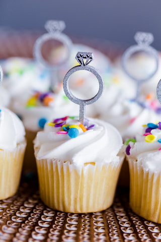 Laser Cut Cupcake Topper - Diamond Ring