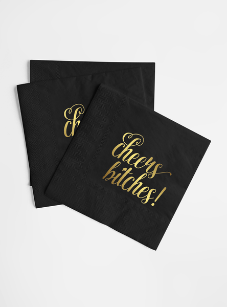 Gold Foil and Black Napkin Set - Cheers Bitches!