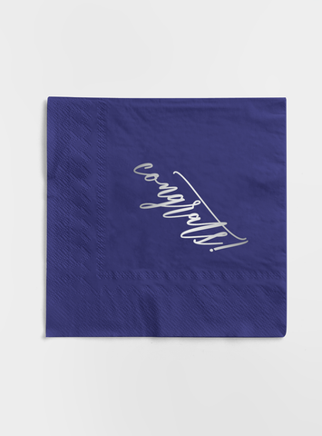 Silver Foil and Navy Napkin Set - Congrats!