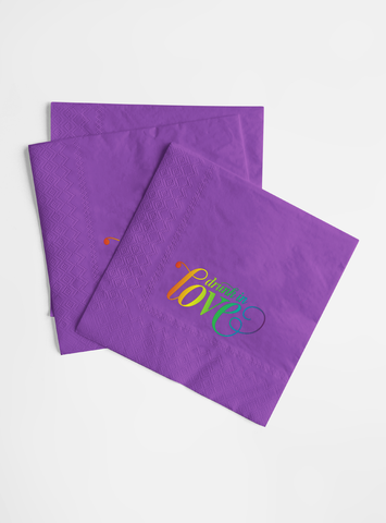 Mega Rainbow Foil and Purple Napkin Set - Drunk in Love