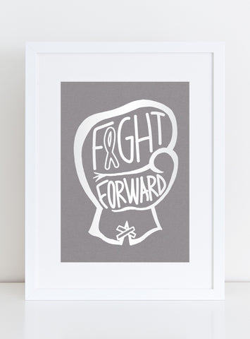 CHARITY White Foil Art Print - FIGHT FORWARD