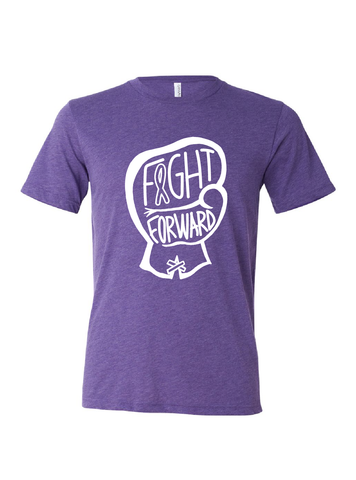 CHARITY White and Purple T-shirt - FIGHT FORWARD
