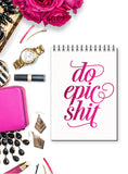 Hot Pink Foil Stamped Notebook - Do Epic Shit