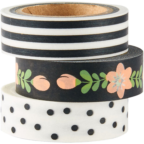 Black, White and Floral Washi Tape