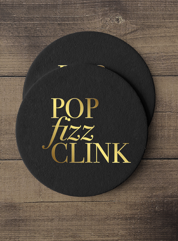 Gold Foil Coaster Set - Pop, Fizz, Clink