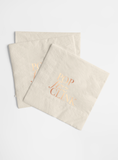 Rose Gold Foil and Cream Napkin Set - Pop, Fizz, Clink