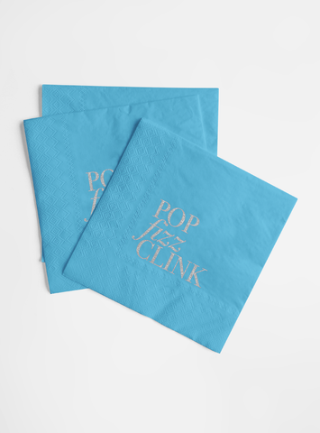Silver Glitter Foil and Light Blue Napkin Set - Pop, Fizz, Clink