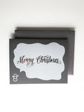Trendy Holiday Cards // Merry Christmas Snowman - Digital + Gunmetal Foil