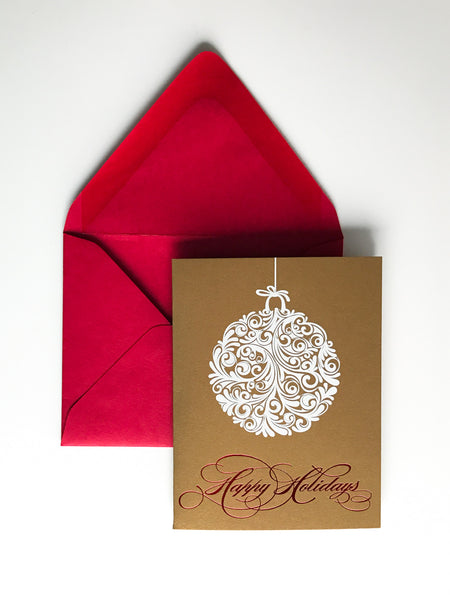 Trendy Holiday Cards // Happy Holidays Ornament - Digital + Red Foil