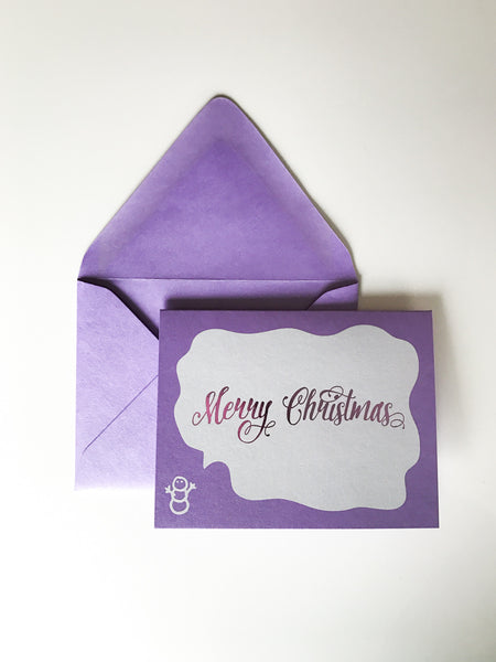 Trendy Holiday Cards // Merry Christmas Snowman - Digital + Lavender Foil