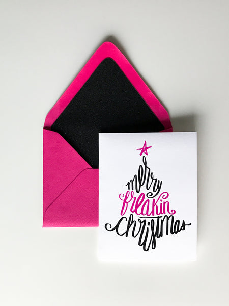 Funny Holiday Cards // Merry Freakin' Christmas - Pink/Black