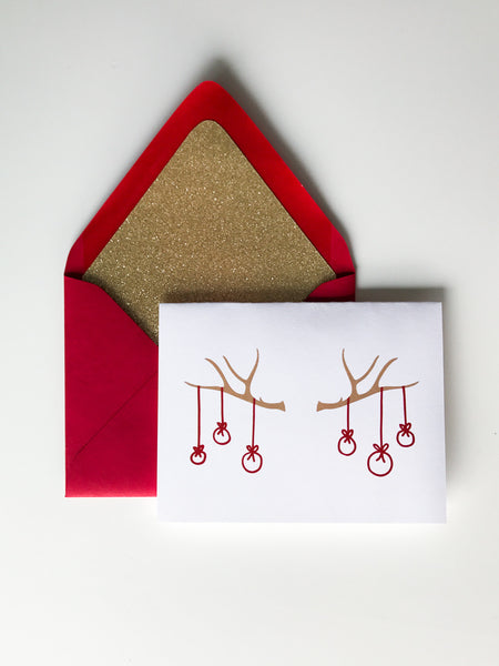 Trendy Holiday Cards // Antlers and Ornaments