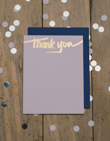 Navy and Gold Glitter Foil Thank You Cards