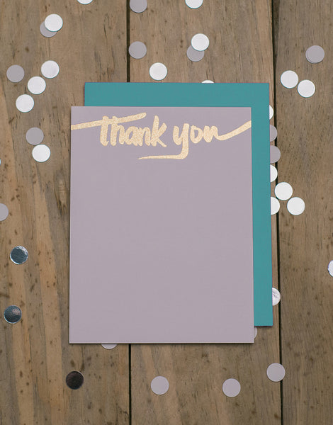 Turquoise and Gold Glitter Foil Thank You Cards