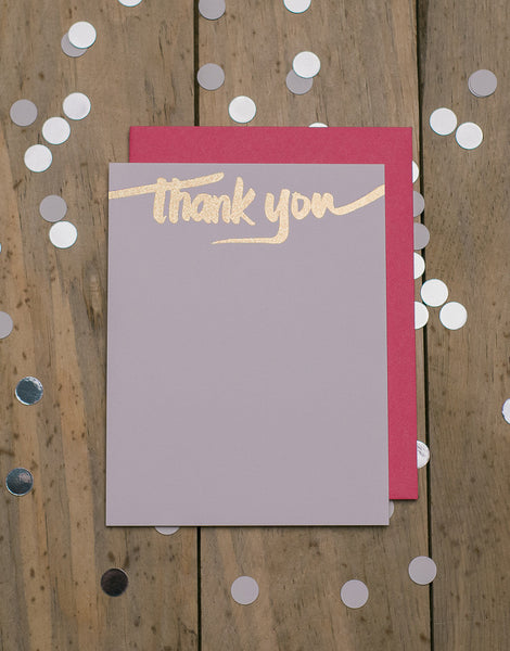 Hot Pink and Gold Glitter Foil Thank You Cards
